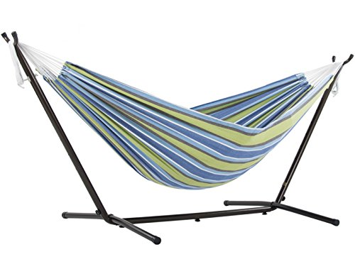 Double Cotton Hammock with Space Saving Steel Stand