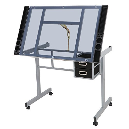 ZENY Glass Top Adjustable Drawing Desk