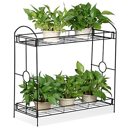 Topeakmart Indoor/Outdoor 2-Tier Metal Flower Stand