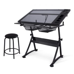 Belleze Adjustable Glass Top Drawing Drafting Table