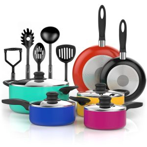 VREMI 15 pcs Non Stick Black
